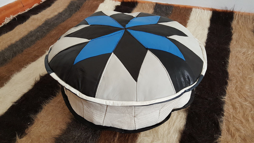 Blue and White Small Leather Pouf