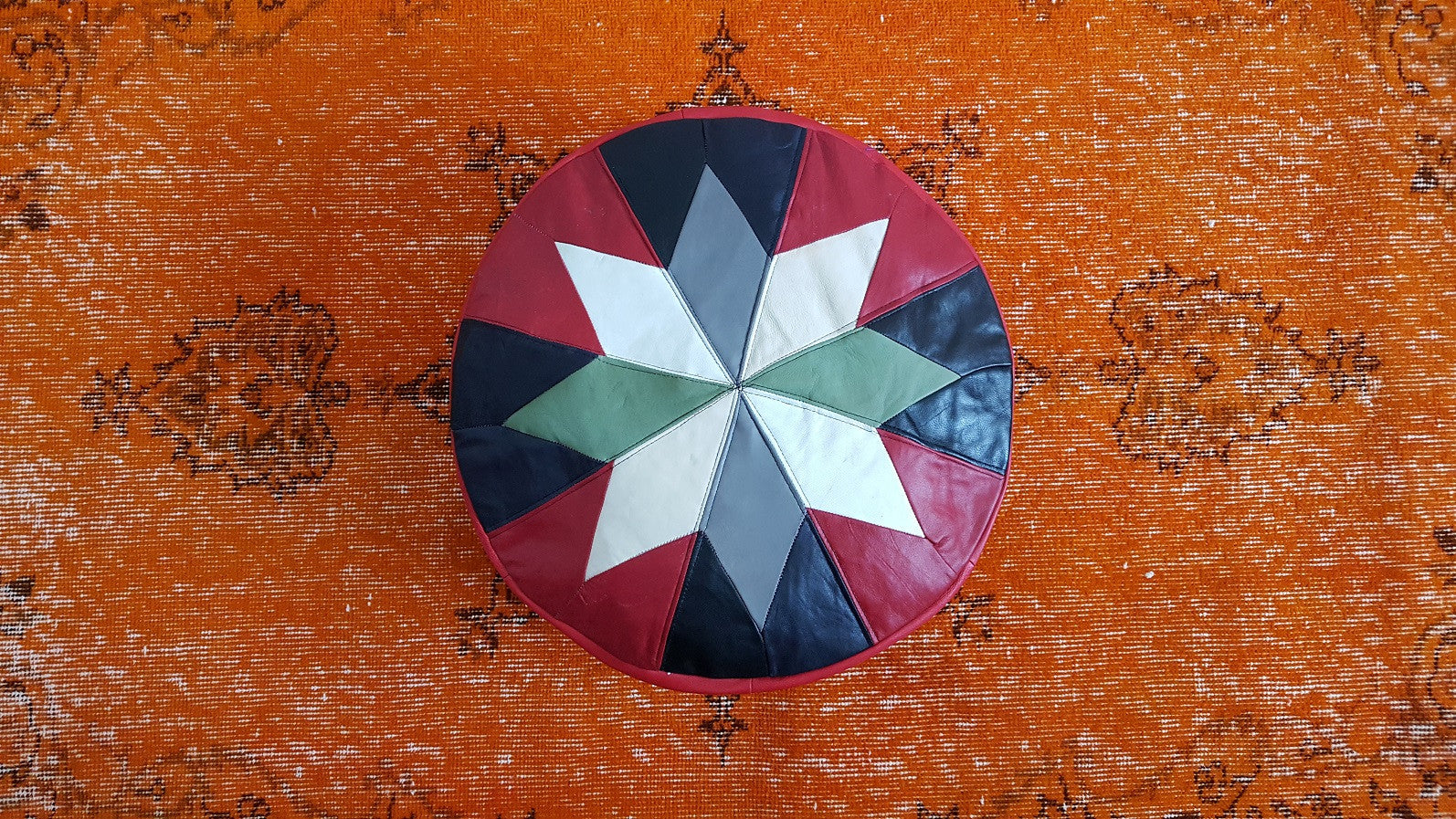 Red and Black Leather Pouf
