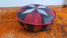 Small Round Leather Pouf