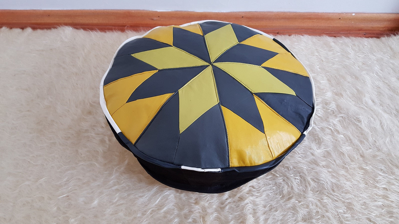 Yellow and Black Pouf 17