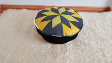 "Yellow and Black Pouf 17"" inches"