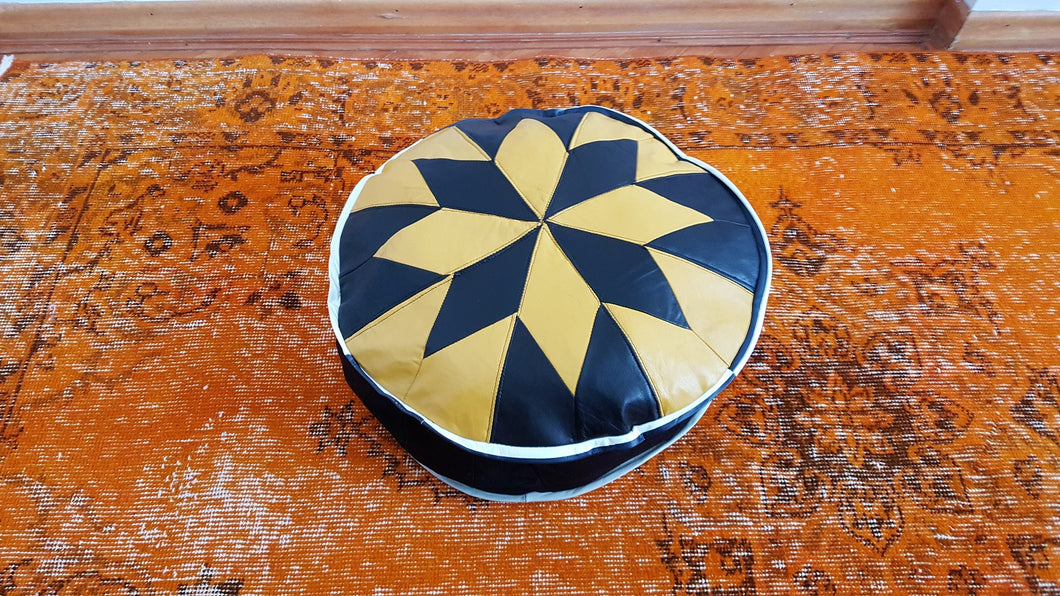 Small Leather Pouf Black and Yellow