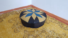 Leather Pouf with Geometric Design