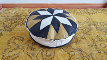 White and Yellow Leather Pouf