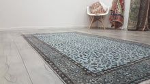 Blue Turkish Area Rug Overdyed Modern Carpet