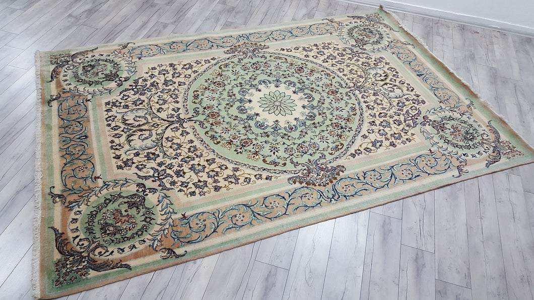 Extremely Fine Persian Nain Area Rug Light Blue Colour 7x10,6 ft.