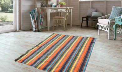 Striped Nomadic Turkish Kilim Rug