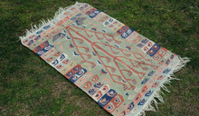 2,7x3,9 Tribal Turkish Kilim Rug Pink Colour CLEARENCE