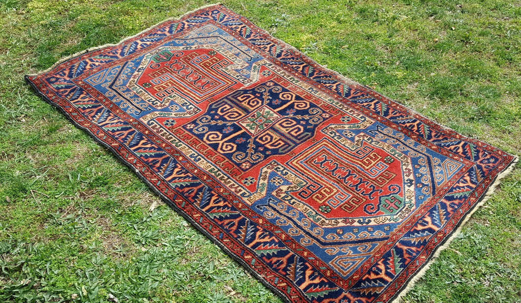 3,7x6 feet Caucasian Rug Blue and Red Great Design