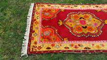 3x6 ft. Red and Yellow Turkish Rugs 1960's
