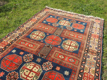 4x6 ft. Caucasian Carpet Blue and Red Kazakh Rug