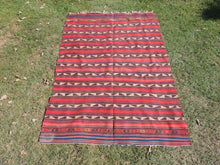 Turkish Tribal Kilim Rug 5x7 Red Stripes