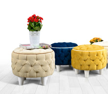 "Ottoman Pouf Amy Yellow 15"" x 16,5"" inches"