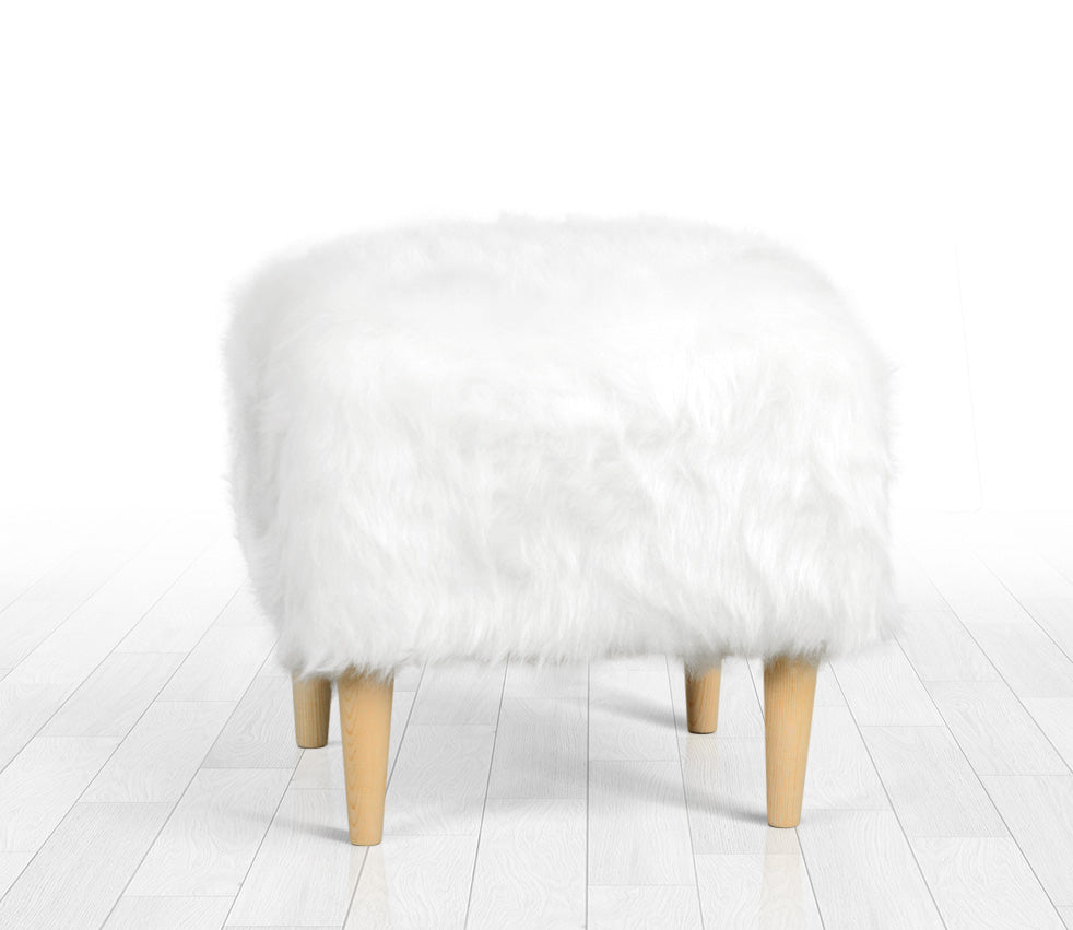 Admirable Ottoman Pouf White Fur Square 16 5 Gmtry Best Dining Table And Chair Ideas Images Gmtryco