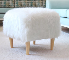 "Ottoman Pouf White Fur Square 16,5"" x 16,5"" x  16,5"" inches"