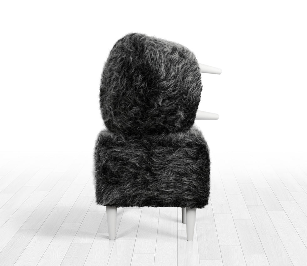 Fantastic Ottoman Pouf Gray Fur Round 16 5 Pdpeps Interior Chair Design Pdpepsorg