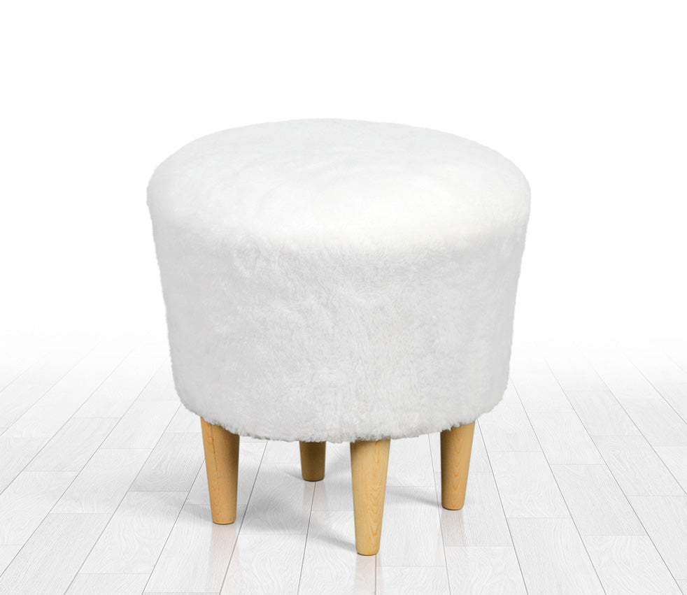 Prime Ottoman Pouf White Faux Sheepskin Round 16 5 Pabps2019 Chair Design Images Pabps2019Com