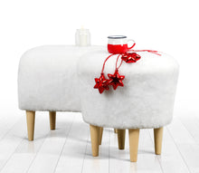 "Ottoman Pouf White Faux Sheepskin Round 16,5"" x 16,5"" inches"