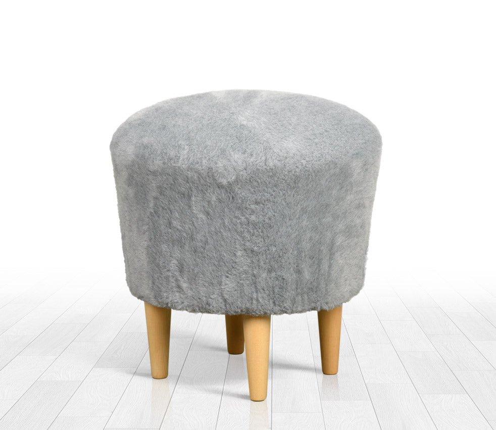 Stupendous Ottoman Pouf Gray Faux Sheepskin Round 16 5 Pabps2019 Chair Design Images Pabps2019Com