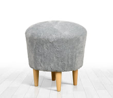 "Ottoman Pouf Gray Faux Sheepskin Round 16,5"" x 16,5"" inches"
