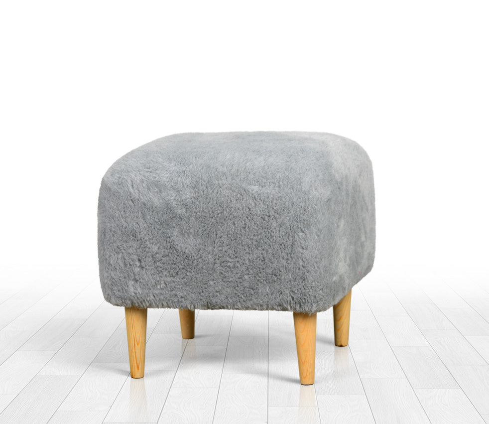Ottoman Pouf Gray Faux Sheepskin Square 16,5