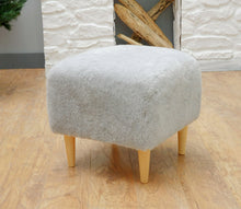 "Ottoman Pouf Gray Faux Sheepskin Square 16,5"" x 16,5"" x 16,5"" inches"