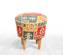 "Ottoman Pouf Patchwork Design White 16,5"" x 16,5"" inches"
