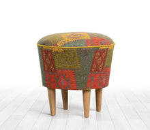 "Ottoman Pouf Patchwork Design Green 16,5"" x 16,5"" inches"