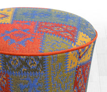 "Ottoman Pouf Patchwork Design Blue 16,5"" x 16,5"" inches"