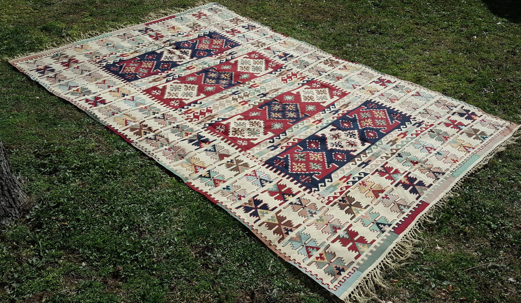 Beautiful Balkan Kilim Rug Rare Colours