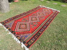 6x11 Red Turkish Kilim Rug Wide Runner