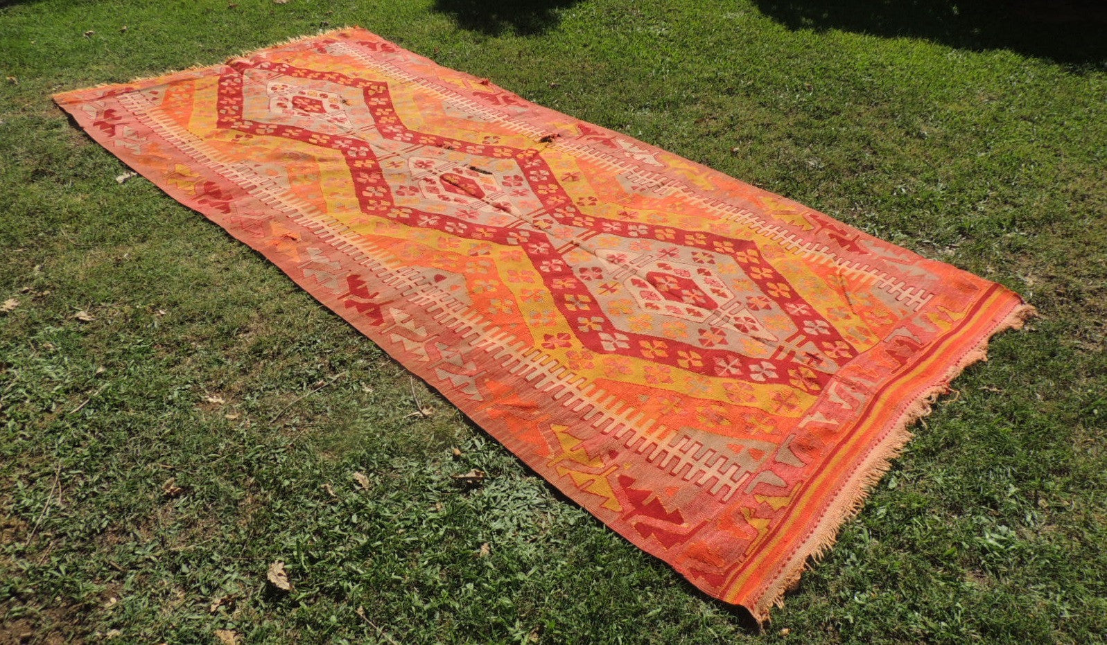 6x13 feet Turkish Sivas Kilim Rug with Red and Orange Color Tones