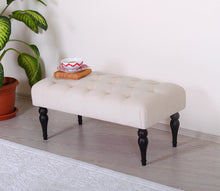 "Tufted Bench Missus Cream 16,9"" x 18,9"" x 36,2"" inches"