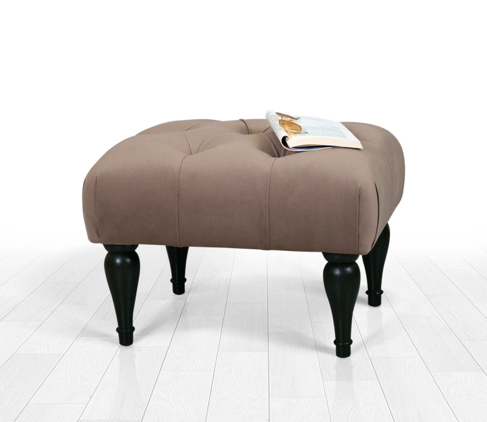 Tufted Rectangle Ottoman Pouf Coffee 20