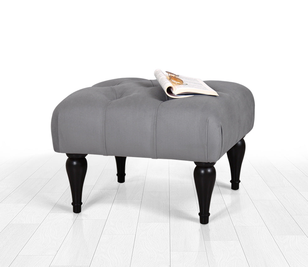 Tufted Rectangle Ottoman Pouf Gray 20