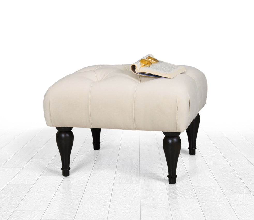 Tufted Rectangle Ottoman Pouf Cream 20