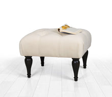"Tufted Rectangle Ottoman Pouf Cream 20"" x 14,1"" x 18,1"" inches"
