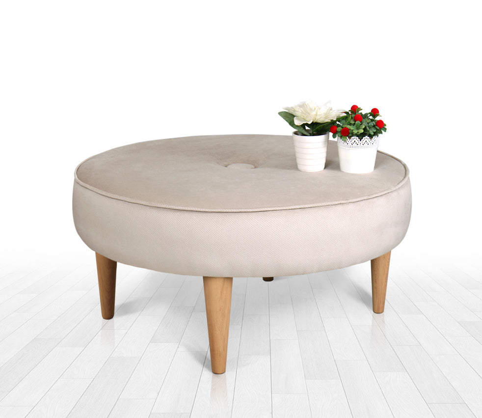 Round Ottoman Pouf Sunset Cream 31,4