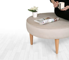 "Round Ottoman Pouf Sunset Cream 31,4"" x 16,1"" inches"