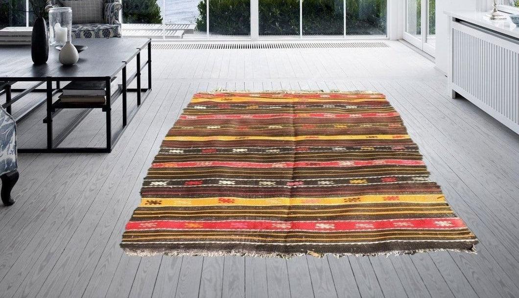 Lovely Bohemian Kilim Rug with Hand Embroideried Tribal Patterns
