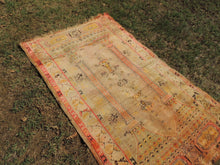 Antique Area Rug with Soft Pastel Colors and Naturally Lowered Piles