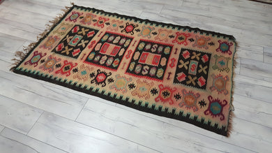 Balkan Kilim Rug Faded Red Colours Black Borders