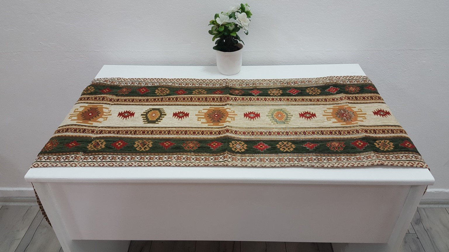 Beige and Green Runner Kilim Motifs