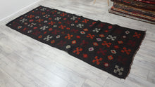 Black Kilim Rug Orange White Motifs