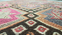 Black and Pink Turkish Kilim Rug Bohemian Gypsy Style Kilims