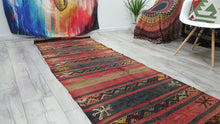 Black and Red Antique Malatya Kilim Runner Rug