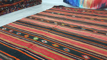 Black and Red Striped Kilim Rug Nomadic Yoruk Wide Runner