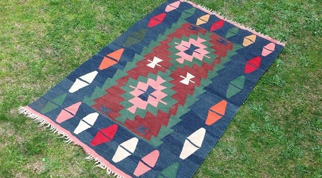 Blue Turkish kilim rug