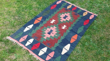 "Blue Turkish kilim rug ""Mavi"""