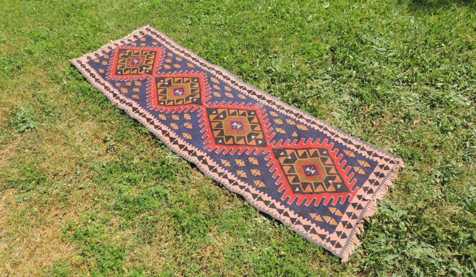 Navy Turkish Runner kilim - bosphorusrugs  - 1